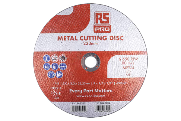 Product image for RS PRO Nylon Cutting Disc, 230mm x 3mm Thick, P120 Grit, 5 in pack