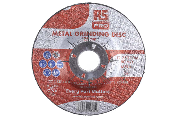 Product image for RS PRO Aluminium Oxide Cutting Disc, 125mm x 6mm Thick, P180 Grit, 5 in pack