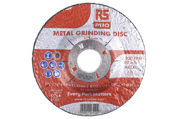 Product image for RS PRO Aluminium Oxide Cutting Disc, 115mm x 6mm Thick, P120 Grit, 5 in pack