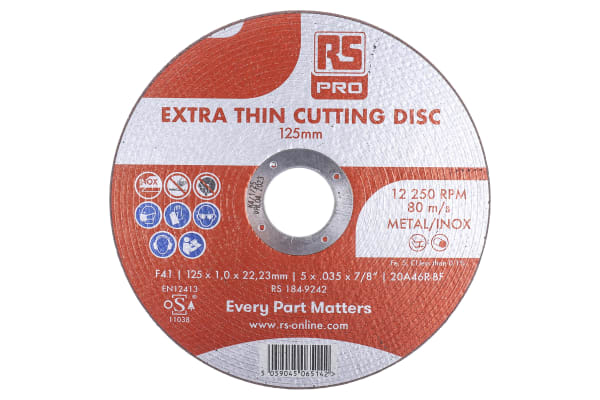 Product image for RS PRO Aluminium Oxide Cutting Disc, 125mm x 1mm Thick, P120 Grit, 5 in pack