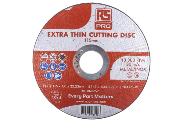 Product image for RS PRO Nylon Cutting Disc, 115mm x 1mm Thick, P60 Grit, 10 in pack