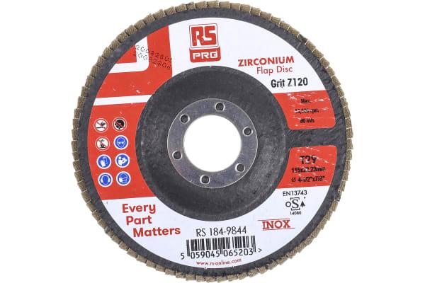 Product image for RS PRO Zirconium Dioxide Flap Disc, 115mm, P120 Grit