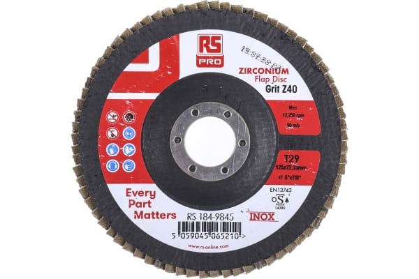 Product image for RS PRO Zirconium Dioxide Flap Disc, 125mm, P40 Grit