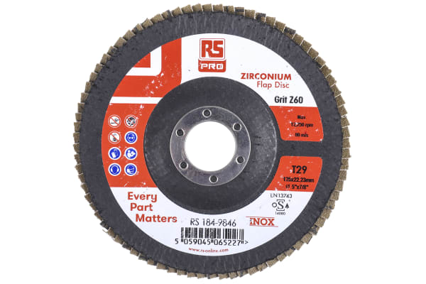 Product image for RS PRO Zirconium Dioxide Flap Disc, 125mm, P60 Grit, 5 in pack