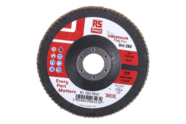 Product image for 125MM X 22MM ZIRCONIUM FLAP DISCS P80 (5