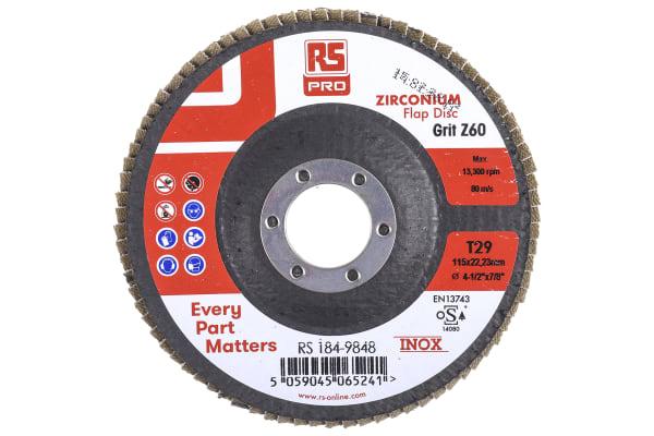 Product image for RS PRO Zirconium Dioxide Flap Disc, 115mm, P60 Grit