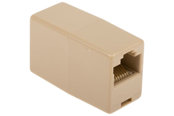 Product image for Beige 8way RJ45 straight through coupler