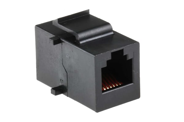 Product image for Black 6 way unshielded RJ11 coupler
