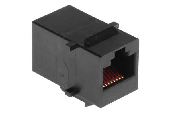 Product image for Black 8 way unshielded RJ45 coupler