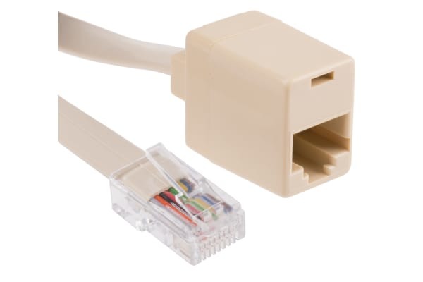 Product image for Beige 8 way RJ45 plug to skt extender,2m