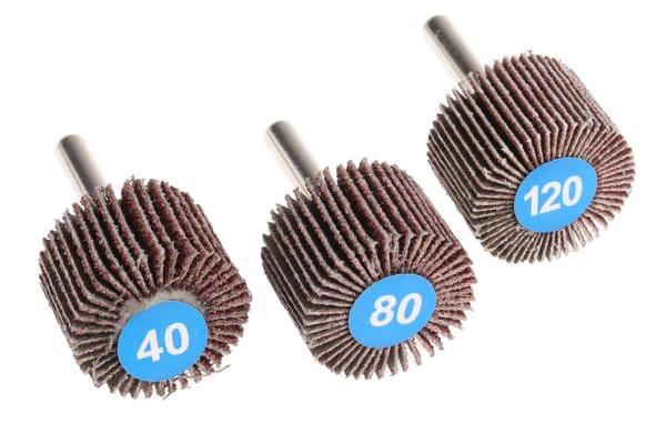 Product image for RS PRO Aluminium Oxide Flap Wheel, 30mm Diameter, P40, P80, P120 Grit