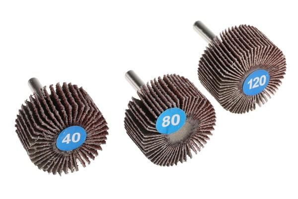 Product image for RS PRO Aluminium Oxide Flap Wheel, 40mm Diameter, P40, P80, P120 Grit