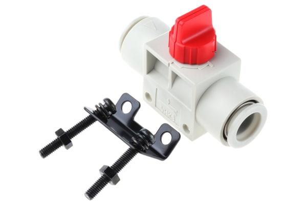 Product image for 12mm 3/2finger valve w/red knob &bracket