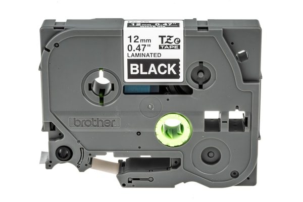 Product image for Brother White on Black Label Printer Tape, 12 mm Width, 8 m Length