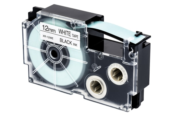 Product image for CASIO BLACK ON WHITE LABELLING TAPE,12MM