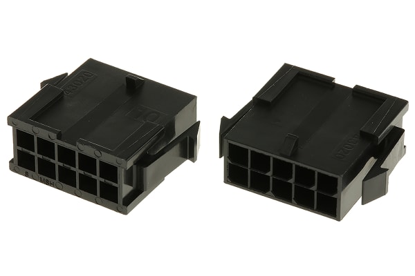 Product image for 10 way dual row panel mount plug,5A 3mm