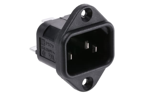 Product image for Bulgin C14 Panel Mount IEC Connector Male, 10A, 250 V ac