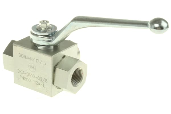 Product image for G3/8 BSPP three way diverter ball valve