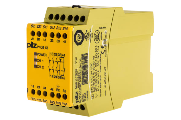 Product image for Pilz 24 V dc, 230 V ac Safety Relay -  Dual Channel With 3 Safety Contacts PNOZ X Range with 1 Auxiliary Contact,