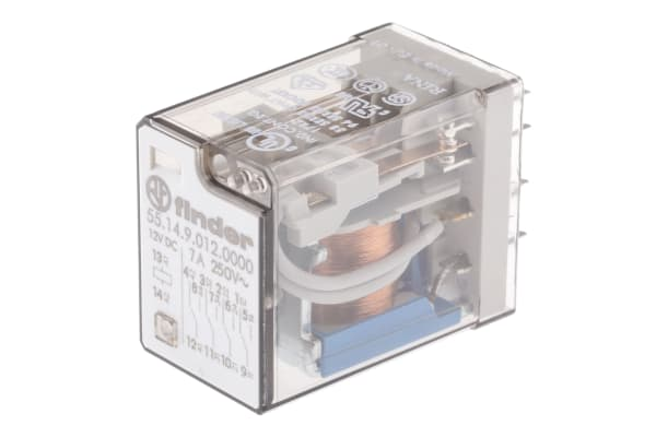 Product image for Finder, 12V dc Coil Non-Latching Relay 4PDT, 7A Switching Current PCB Mount, 4 Pole