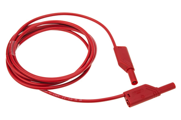 Product image for 2m red shrouded/stackable lead,4mm plug