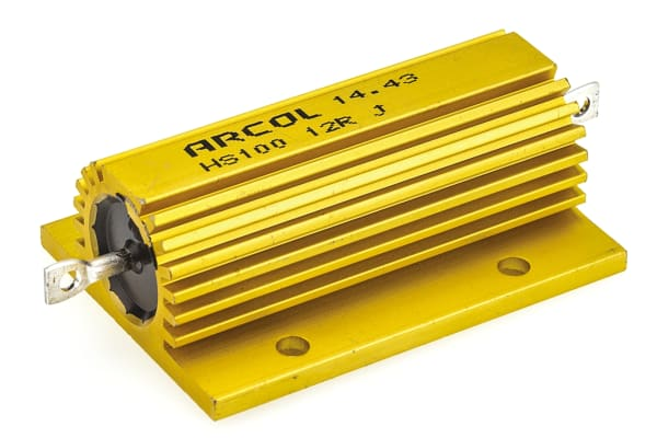 Product image for Arcol HS100 Series Aluminium Housed Axial Wire Wound Panel Mount Resistor, 12Ω ±5% 100W