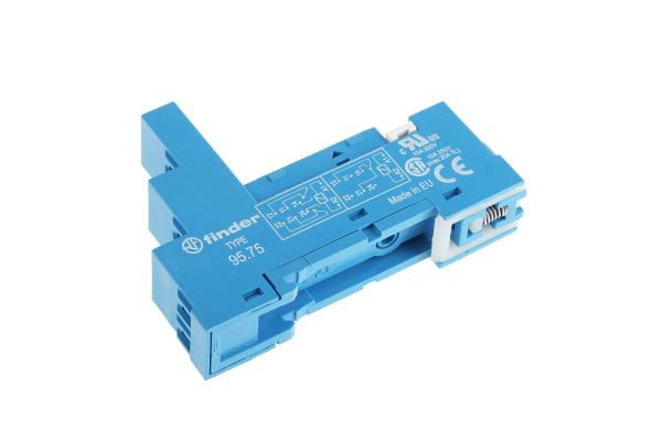 Product image for DPDT DIN rail relay skt - metal clip