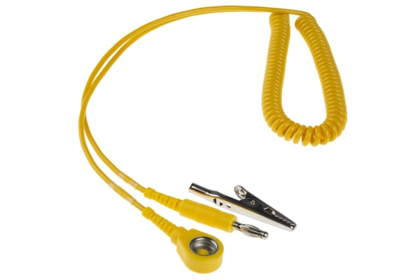 Product image for 10mm stud-banana cord,1.8m L 1meg coil