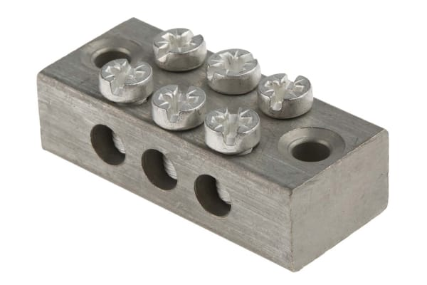 Product image for 3 way double screw earth terminal block