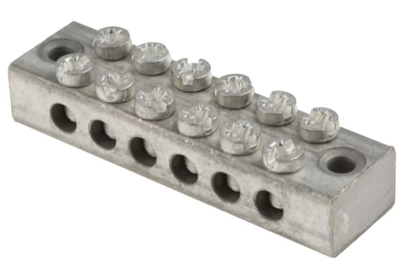 Product image for 6 way double screw earth terminal block