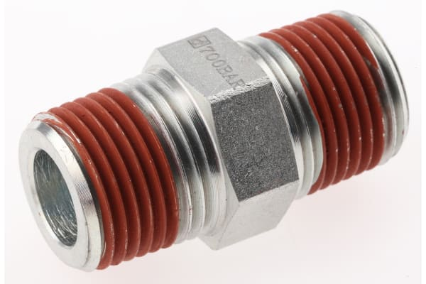 Product image for 3/8IN-18 NPT M-M HEXAGON NIPPLE FITTING