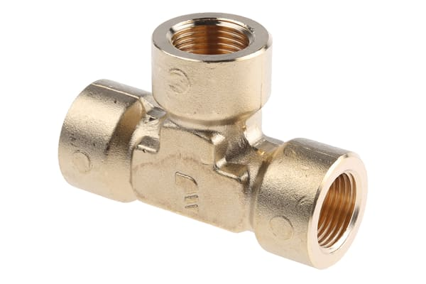 Product image for BRASS EQUAL TEE,3/8IN  BSPP F ALL ENDS