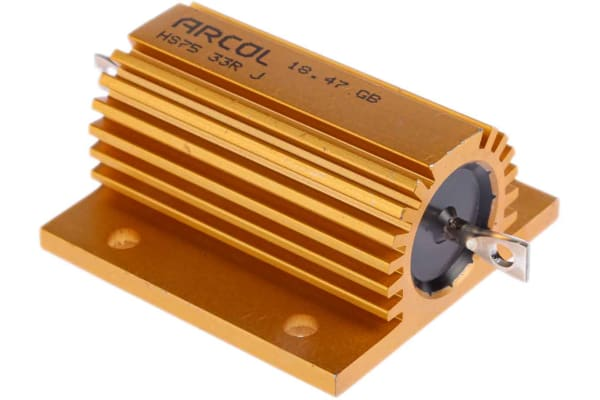 Product image for Arcol HS75 Series Aluminium Housed Axial Wire Wound Panel Mount Resistor, 33Ω ±5% 75W