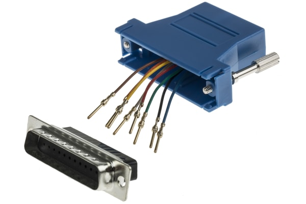 Product image for Blue 25 way D plug w/RJ45 socket adaptor