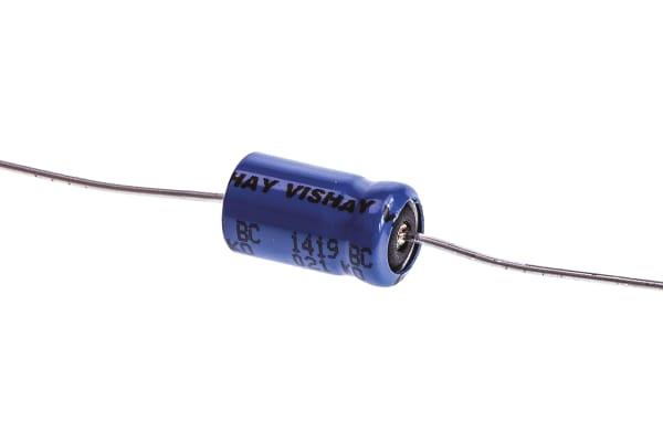 Product image for 021ASM min axial Al elect cap,22uF 63V