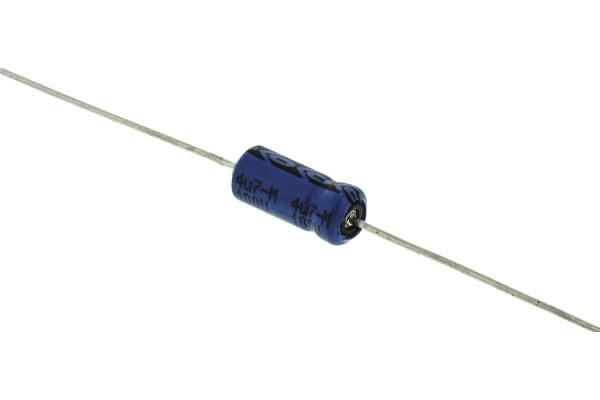 Product image for 021ASM min axial Al elect cap,4.7uF 100V