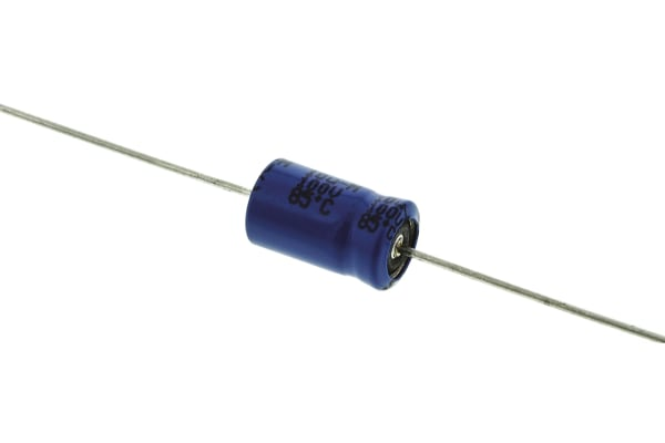 Product image for 021ASM min axial Al elect cap,10uF 100V