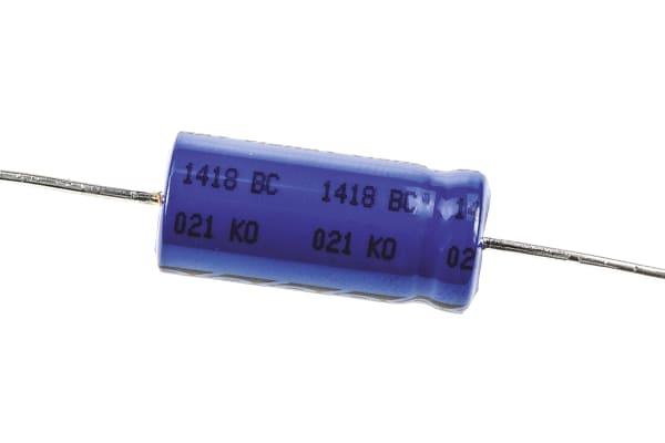 Product image for 021ASM min axial Al elect cap,47uF 100V