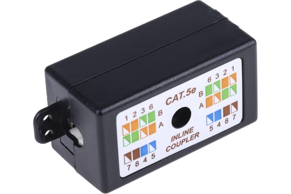 Product image for Black Cat5e in-line wiring UTP box
