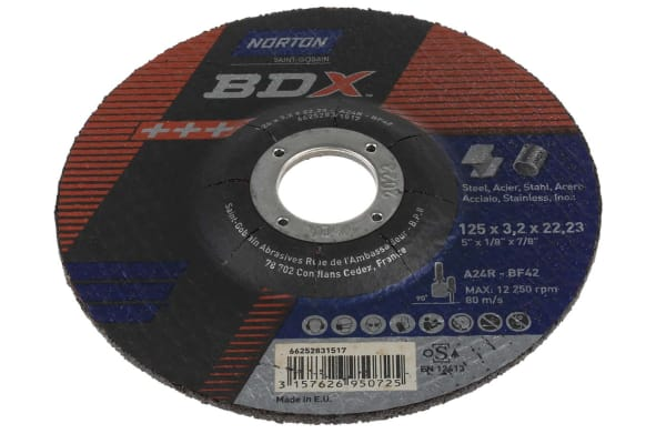 Product image for Norton Cutting Disc Aluminium Oxide Cutting Disc, 125mm x 3.2mm Thick, P60 Grit, 5 in pack, BDX