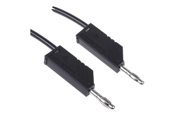 Product image for 1m black moulded test lead,4mm plug