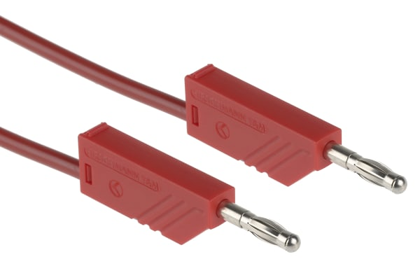 Product image for 1m red moulded test lead,4mm plug