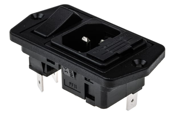 Product image for Bulgin C14 Panel Mount IEC Connector Male, 10A, 250 V ac, Fuse Size 5 x 20mm