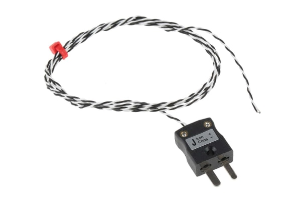 Product image for J PTFE min fitted plug thermocouple,1m