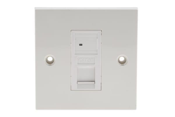Product image for 1xRJ45 Cat5e UTP socket wallplate