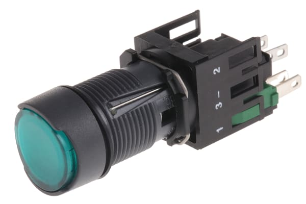 Product image for 12-24V p/but. latching 1 N/O green circ.