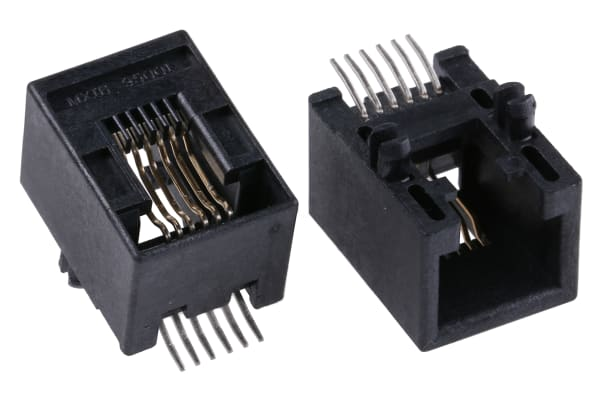 Product image for 6/6 way PCB mount SMT r/a RJ socket,1.5A