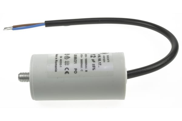 Product image for Ducati Energia 12μF Polypropylene Capacitor PP 400 → 500V ac ±5% Tolerance Stud Mount 4.16.10 Series