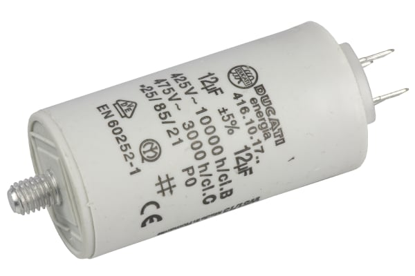 Product image for Ducati Energia 12μF Polypropylene Capacitor PP 450V ac ±5% Tolerance Stud Mount 4.16.10 Series