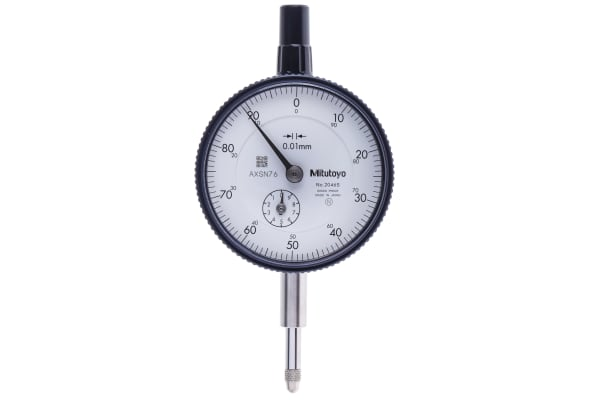 Product image for Mitutoyo 2046SMetric Dial Indicator, -10 → +10 mm Measurement Range, 0.01 mm Resolution , ±12 μm Accuracy